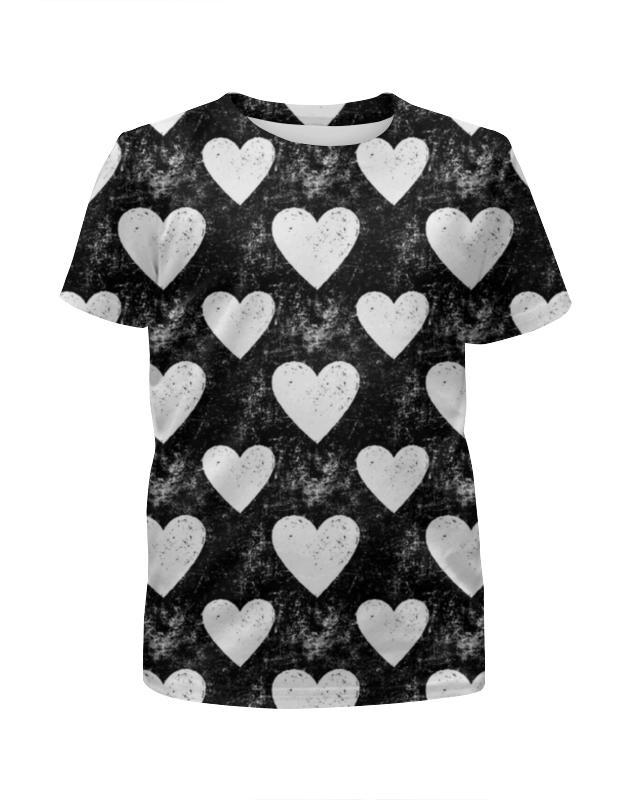 Футболка с полной запечаткой для девочек Printio Черно-белые сердца футболка классическая printio полоски черно белые красные портрет девушки