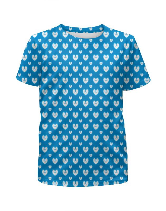 Футболка с полной запечаткой для девочек Printio Белые сердечки футболка с полной запечаткой для девочек printio пртигр arsb
