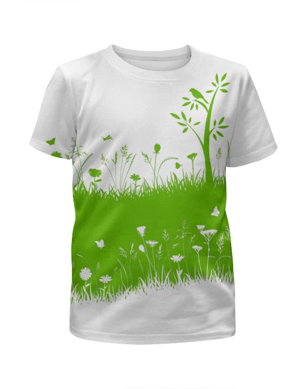 Футболка с полной запечаткой для девочек Printio Летняя трава биолит трава ромашки 100 г