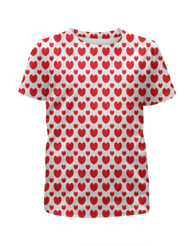 Футболка с полной запечаткой для девочек Printio Красные сердечки