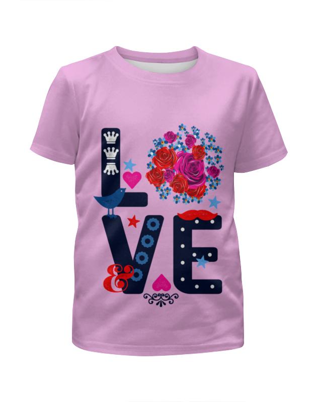 Футболка с полной запечаткой для девочек Printio любовь футболка классическая printio муравьед с цветами