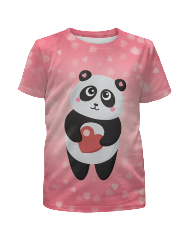 Футболка с полной запечаткой для девочек Printio Панда с сердечком футболка с полной запечаткой для девочек printio панда с сердечком
