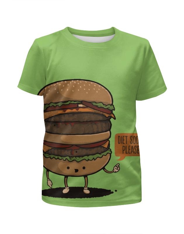 Футболка с полной запечаткой для девочек Printio Diet burger / бургер фартук printio no diet