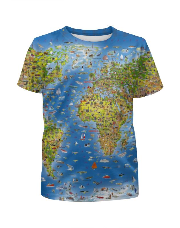 Футболка с полной запечаткой для девочек Printio World map стоимость
