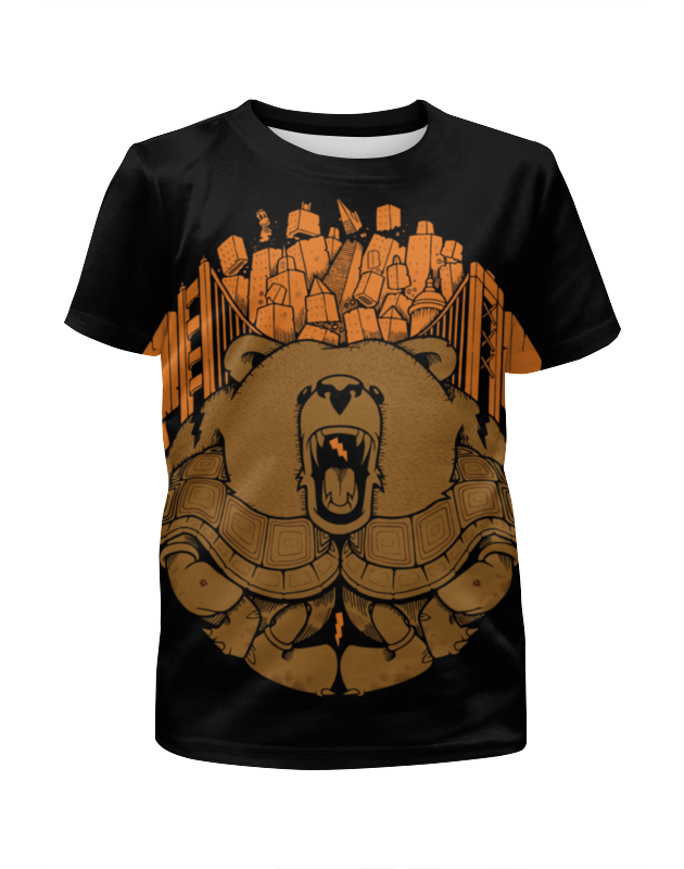 Футболка с полной запечаткой для девочек Printio Bear city / медведь лонгслив printio bear beer медведь и мед