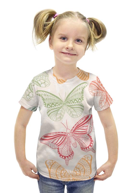 Футболка с полной запечаткой для девочек Printio Бабочки футболка с полной запечаткой для девочек printio пртигр arsb