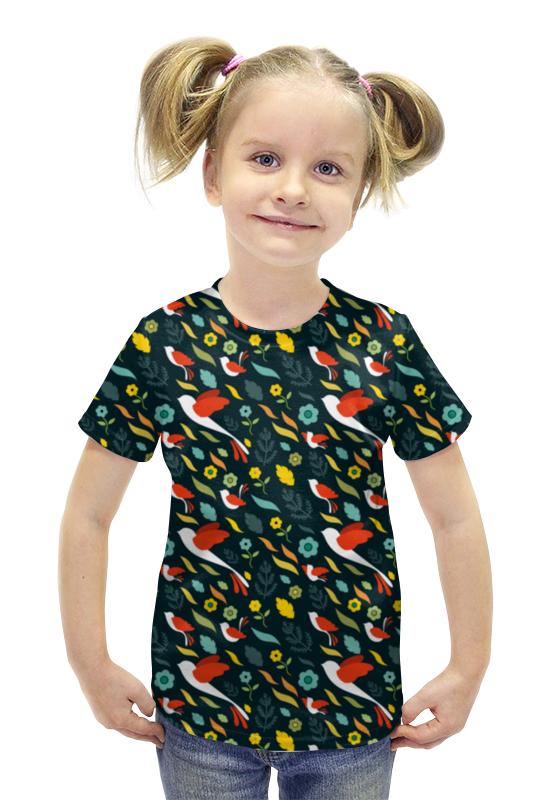 Футболка с полной запечаткой для девочек Printio Птички футболка с полной запечаткой для девочек printio пртигр arsb