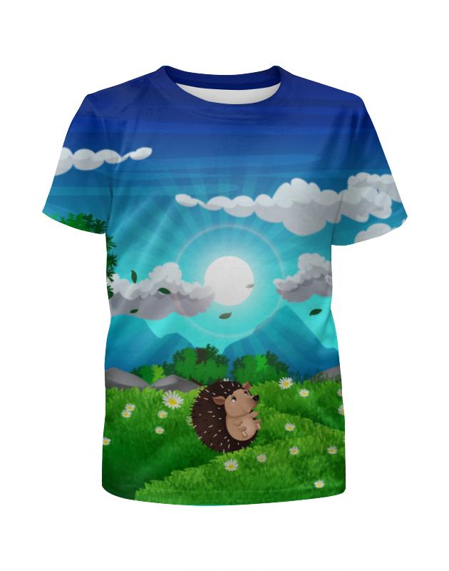 Футболка с полной запечаткой для девочек Printio Ёжик на лугу футболка с полной запечаткой для девочек printio на отдых