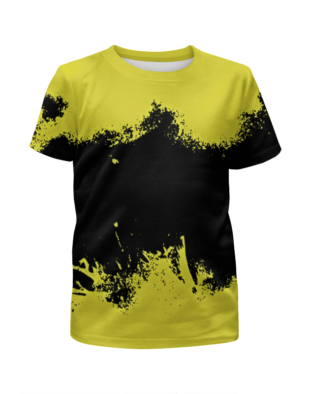 Футболка с полной запечаткой для девочек Printio Черно-желтые краски цена и фото