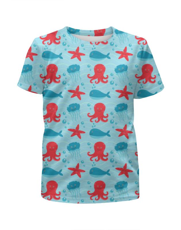 Футболка с полной запечаткой для девочек Printio Морские глубины футболка с полной запечаткой для девочек printio зелено белое морское чудовище из глубин