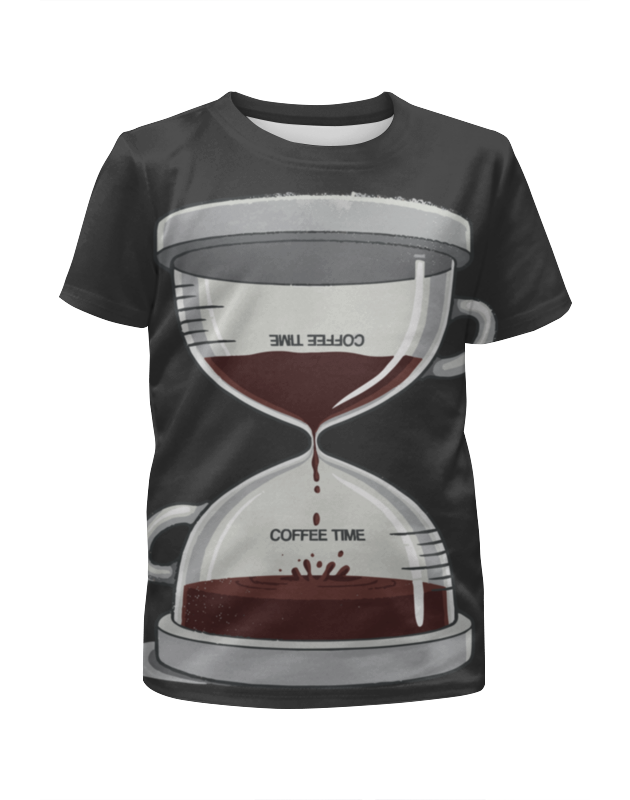 Футболка с полной запечаткой для девочек Printio Coffee time / время кофе creative coffee time wall mounted clock blue 1 x aa