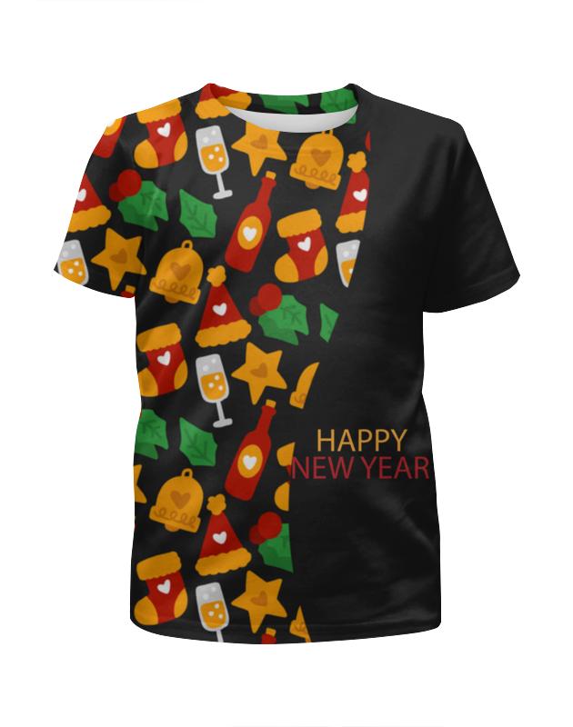 Футболка с полной запечаткой для девочек Printio Happy new year фартук с полной запечаткой printio happy new year 2017