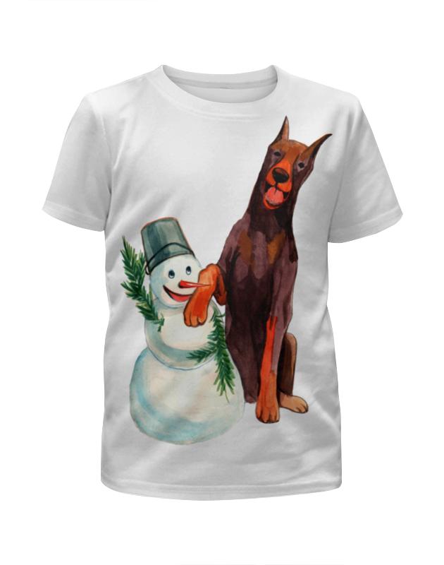 футболка с полной запечаткой для мальчиков printio забавная акварельная собака символ 2018 года Футболка с полной запечаткой для девочек Printio Забавная акварельная собака, символ 2018 года