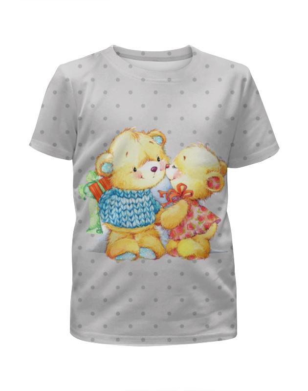 Футболка с полной запечаткой для девочек Printio Романтичные мишки. парные футболки. футболки