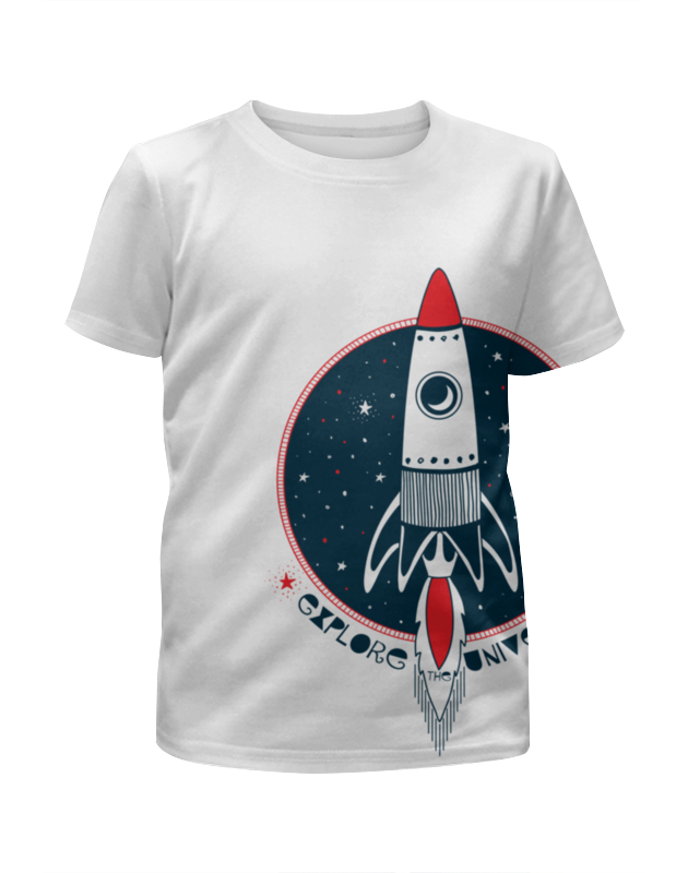 Футболка с полной запечаткой для девочек Printio Ракета космическая ракета 4m