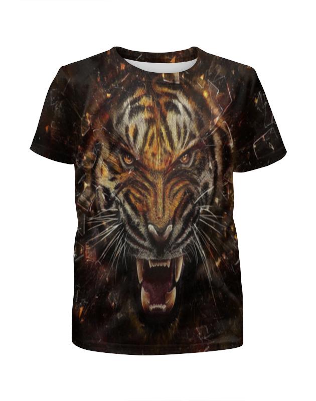 Printio Яростный тигр футболка с полной запечаткой для девочек printio охрана тигр