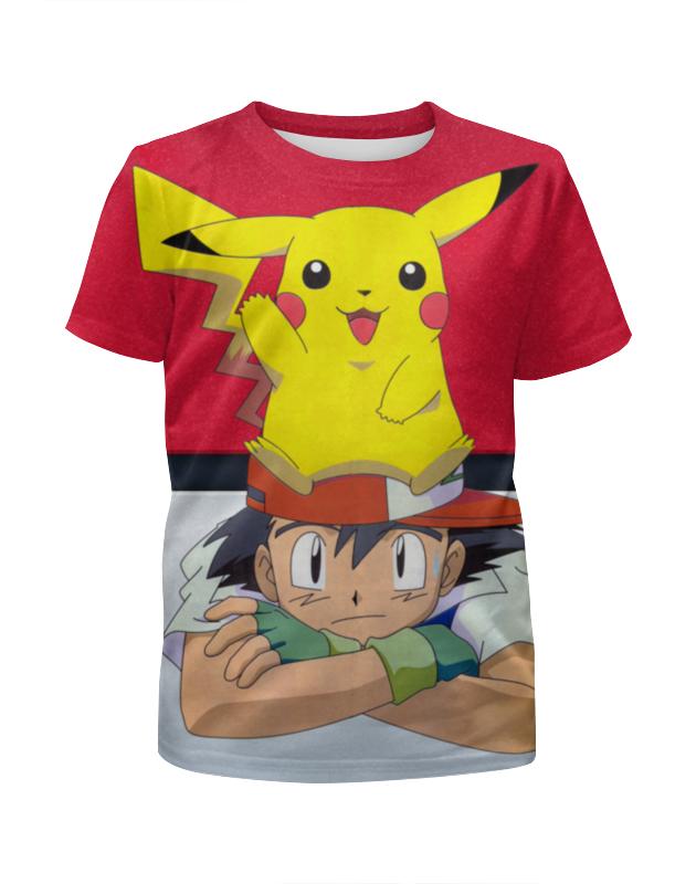 Футболка с полной запечаткой для девочек Printio Ash & pikachu
