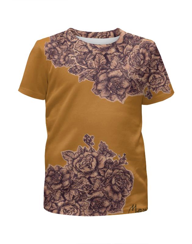 футболка с полной запечаткой для девочек printio розы декор Футболка с полной запечаткой для девочек Printio Осенние розы