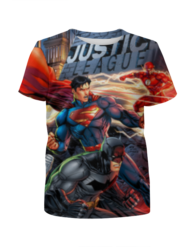 Футболка с полной запечаткой для девочек Printio Лига правосудия (justice league) single ninja dc comics justice league superman batman the flash supergirl superwoman building blocks bricks toys for children