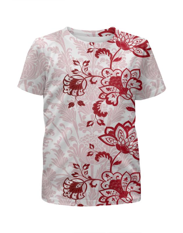 Футболка с полной запечаткой для девочек Printio Красные цветочки arina для девочек красные с белыми цветами