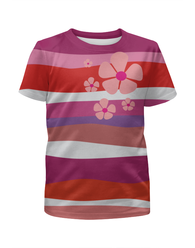Футболка с полной запечаткой для девочек Printio Красные волны с розовым цветком arina для девочек красные с белыми цветами