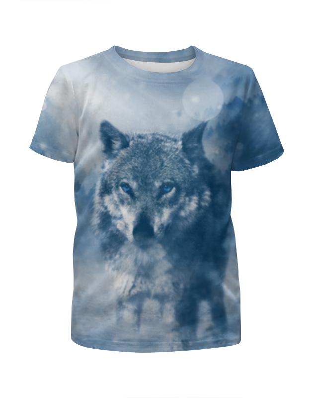 Футболка с полной запечаткой для девочек Printio Волк с голубыми глазами футболка с полной запечаткой для девочек printio волк шаман