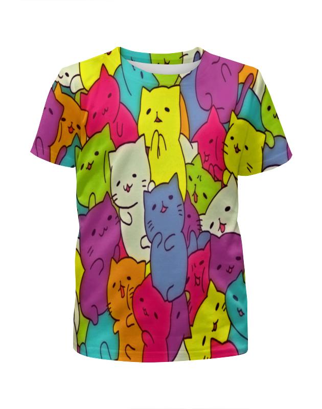 Футболка с полной запечаткой для девочек Printio Котики цветные футболка с полной запечаткой для девочек printio котики