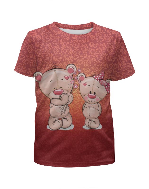 Футболка с полной запечаткой для девочек Printio Влюбленные мишки тедди. парные футболки.