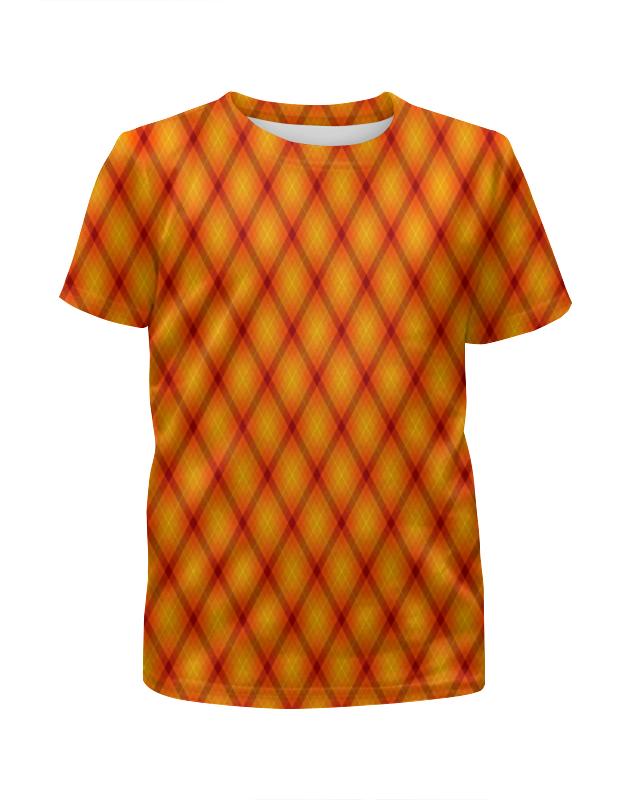 цена на Футболка с полной запечаткой для девочек Printio Клетка оранжевая