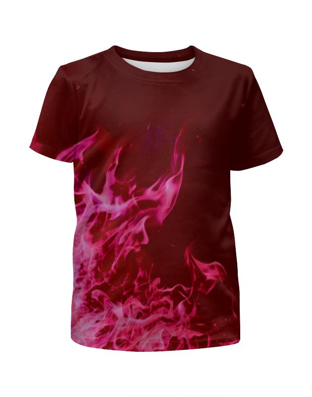 Футболка с полной запечаткой для девочек Printio Розовый огонь цена и фото