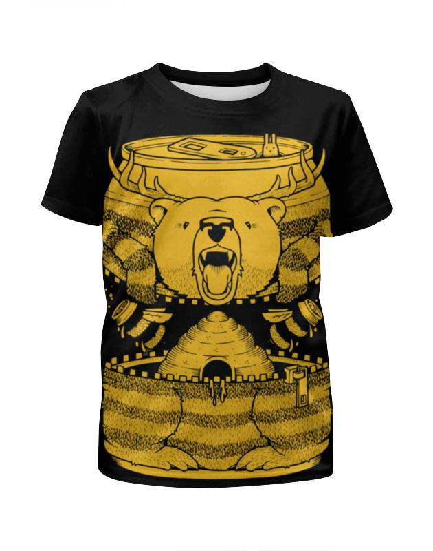 Футболка с полной запечаткой для девочек Printio Bear beer /медведь лонгслив printio bear beer медведь и мед