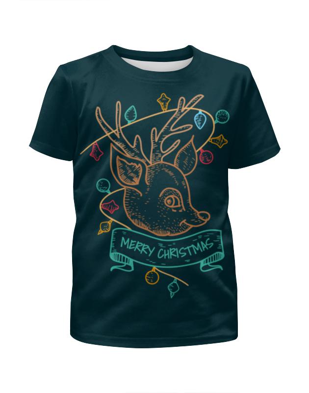 Футболка с полной запечаткой для девочек Printio Новогодний олененок футболка для беременных printio новогодний лось