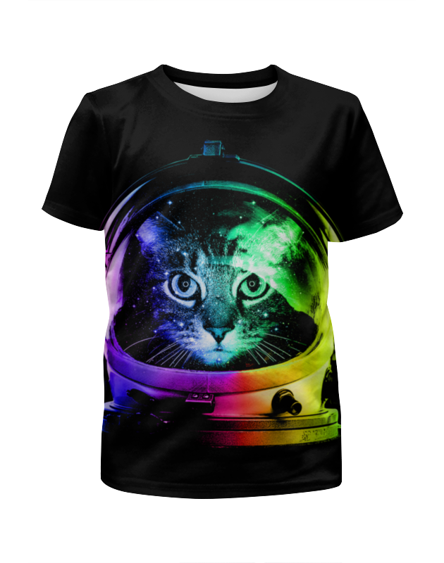 Футболка с полной запечаткой для девочек Printio Кот космонавт футболка с полной запечаткой для девочек printio пес и кот