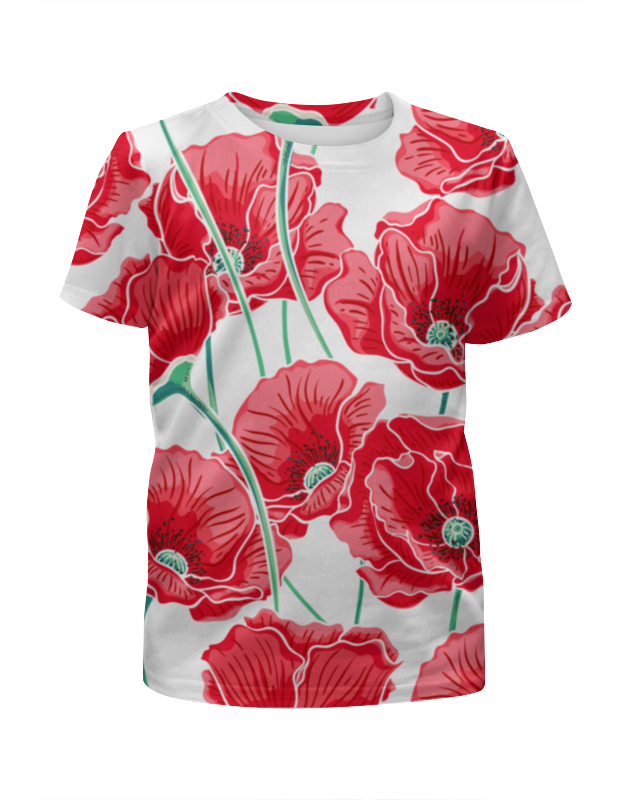 Футболка с полной запечаткой для девочек Printio Красные маки футболка с полной запечаткой для девочек printio пртигр arsb
