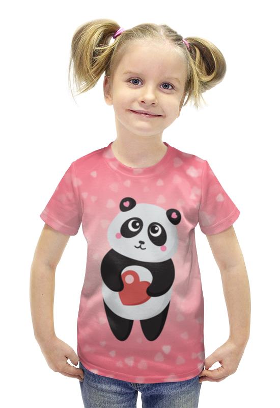 Футболка с полной запечаткой для девочек Printio Панда с сердечком футболка с полной запечаткой для девочек printio панда