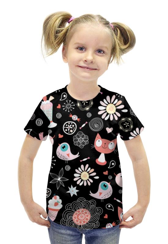 Футболка с полной запечаткой для девочек Printio Коты и птички футболка с полной запечаткой для девочек printio птички