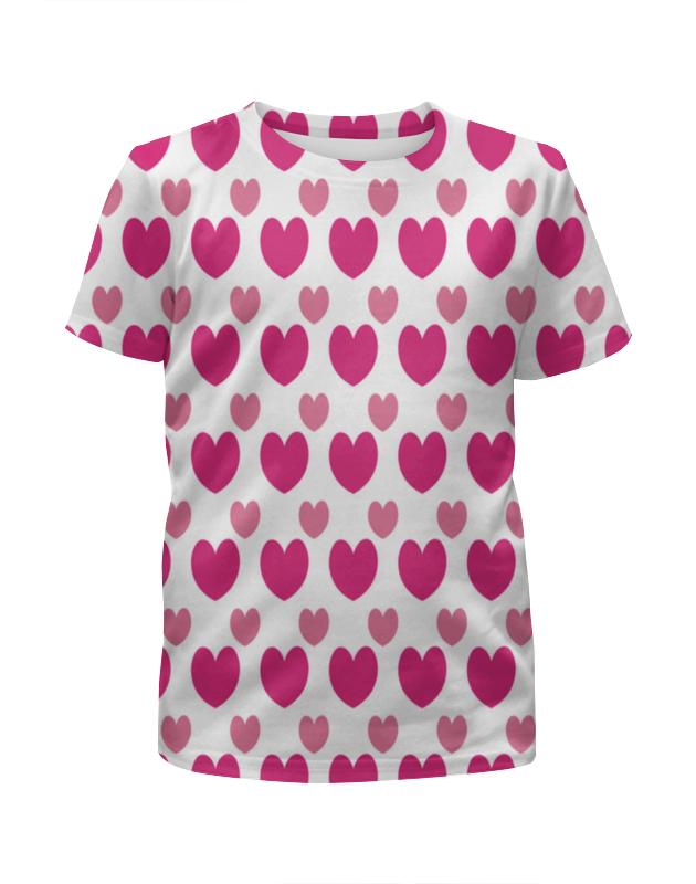 Футболка с полной запечаткой для девочек Printio Розовые сердечки колонки автомобильные supra rls 830 коаксиальные 310вт