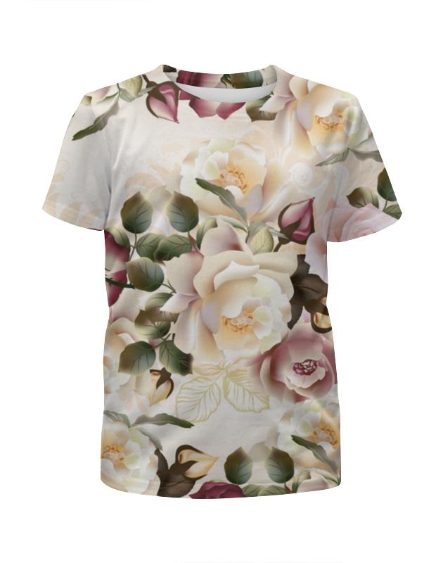 футболка с полной запечаткой для девочек printio розы декор Футболка с полной запечаткой для девочек Printio Розовые розы