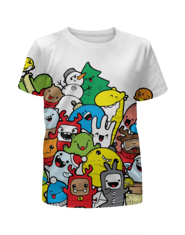 Футболка с полной запечаткой для девочек Printio Дудлы зимние футболка с полной запечаткой для девочек printio зимние забавы