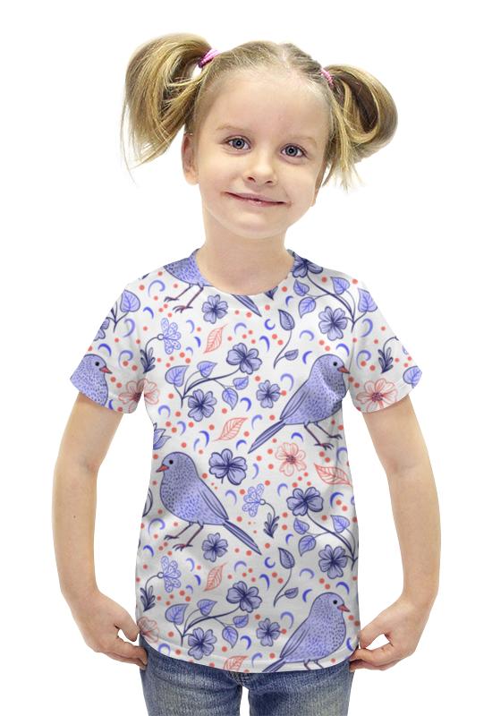 Футболка с полной запечаткой для девочек Printio Птички и цветочки футболка с полной запечаткой для девочек printio птички