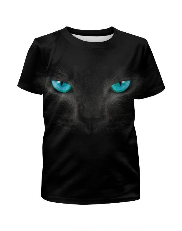 Футболка с полной запечаткой для девочек Printio Взгляд черной кошки для кошки