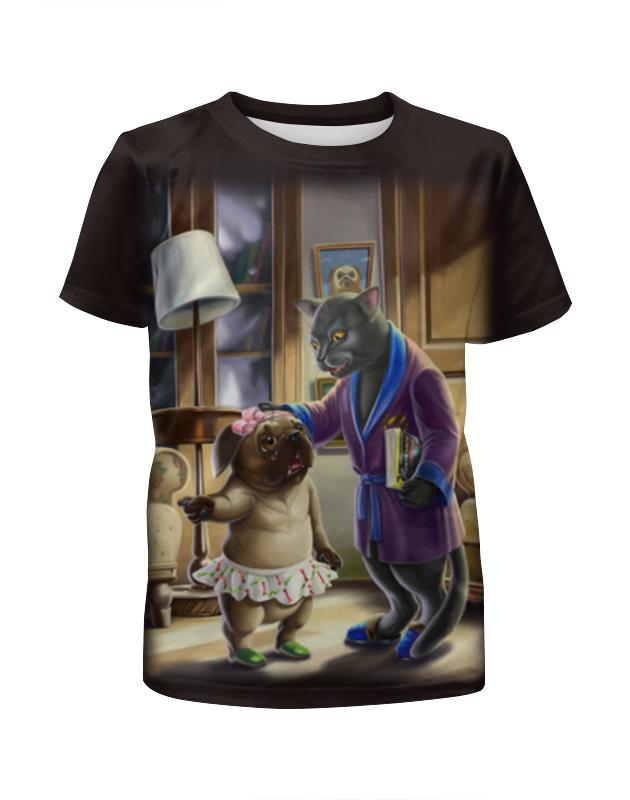 Футболка с полной запечаткой для девочек Printio Кошечка с собакой футболка с полной запечаткой для мальчиков printio кошечка
