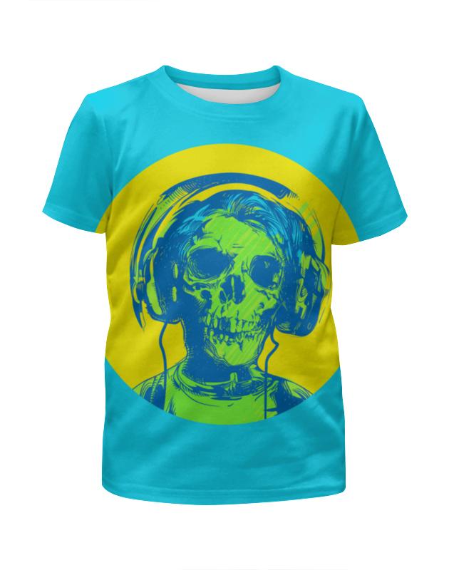 все цены на Футболка с полной запечаткой для девочек Printio I love music (череп в наушниках)