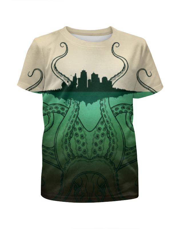 Футболка с полной запечаткой для девочек Printio Зелено-белое морское чудовище из глубин футболка с полной запечаткой для девочек printio зелено белое морское чудовище из глубин