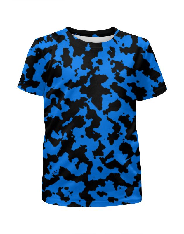 цена на Футболка с полной запечаткой для девочек Printio Чёрно-синий камуфляж