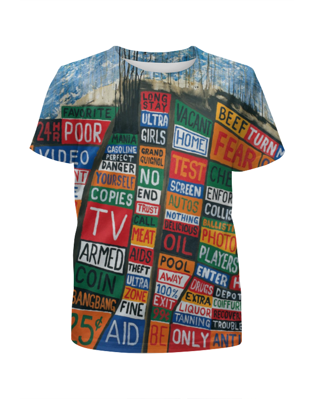 Футболка с полной запечаткой для девочек Printio Radiohead album full print t-shirt v neck flower and bird print plus size short sleeve men s t shirt