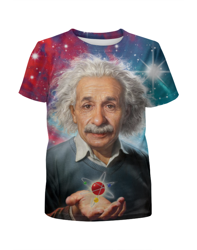 Футболка с полной запечаткой для девочек Printio Альберт эйнштейн who was albert einstein