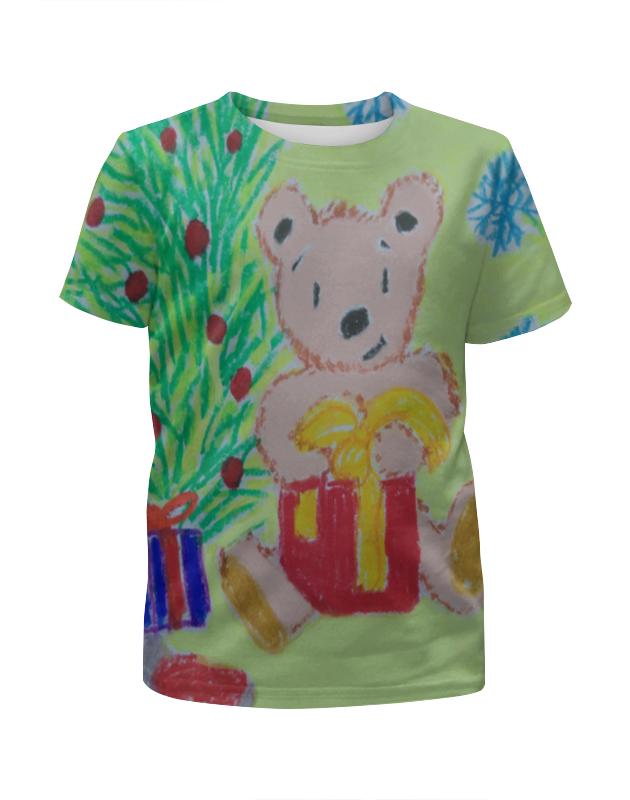 Футболка с полной запечаткой для девочек Printio Новогодний мишка футболка для беременных printio новогодний лось