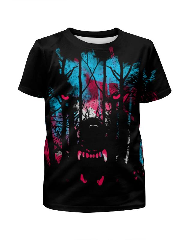 Футболка с полной запечаткой для девочек Printio Лесной волк футболка с полной запечаткой для девочек printio волк шаман