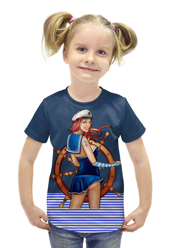 Футболка с полной запечаткой для девочек Printio Морячка футболка с полной запечаткой для девочек printio пртигр arsb